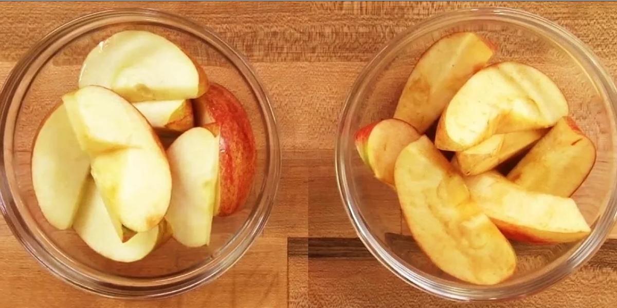 Oxidizing apple's slices